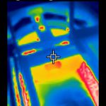 Thermal imaging of industrial enameling furnace roof at hotzone near 180 degree turn
